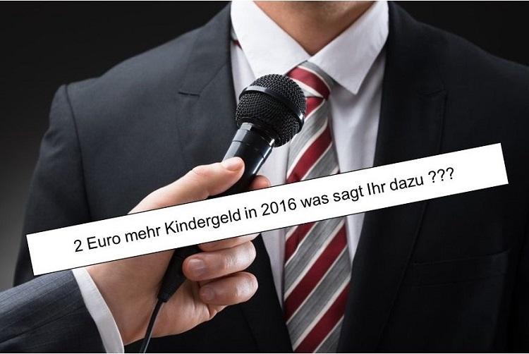 Politiker 2 Euro Kindergelderhöhung 2016